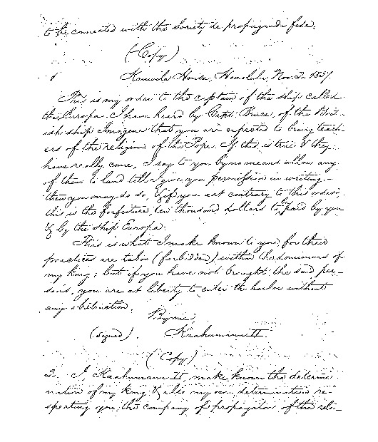 Kinau - Ali`i Letters - 1837.11.02 - to Captain Shaw of the Europa
