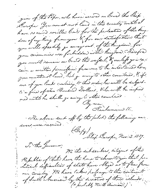 Kinau - Ali`i Letters - 1831.11.02 - from Spanish Subjects