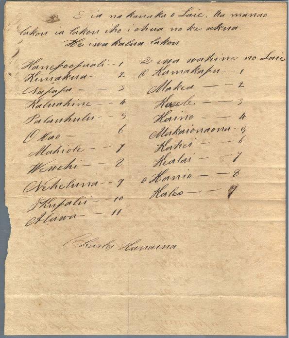 Kanaina - Ali`i Letters - 1831 - to Chamberlain, Levi (1)