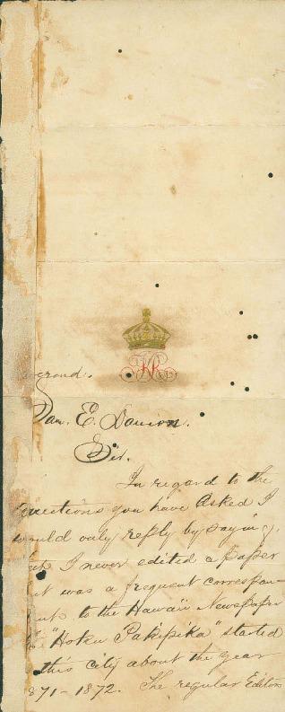 Kalakaua, David - Ali`i Letters - No Date - to Damon, Samuel Edward