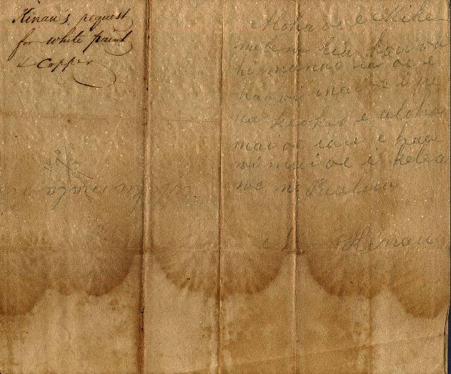 Kinau - Ali`i Letters - No Date - to Chamberlain, Levi