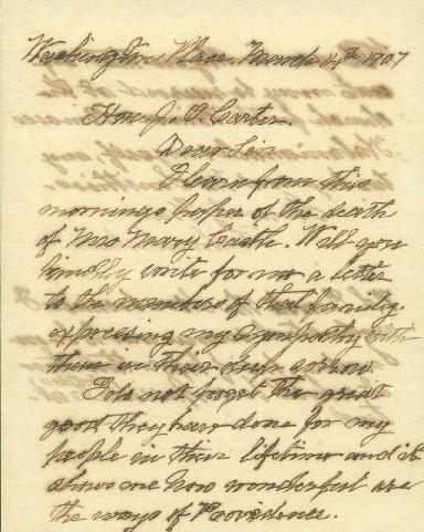 Liliuokalani - Ali`i Letters - 1907.03.14 - to Carter, Joseph O.