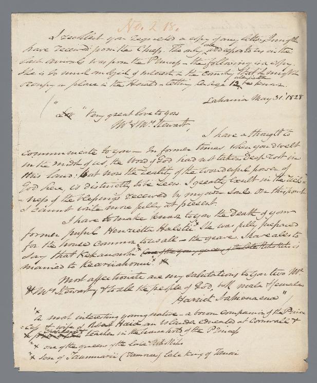 Nahienaena - Ali`i Letters - 1828.05.31 - to Stewart, Charles