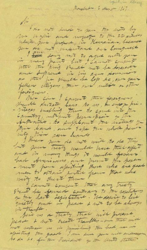 Ii, John Papa - Ali`i Letters - 1847.03.02 - to Ten Eyck, Anthony