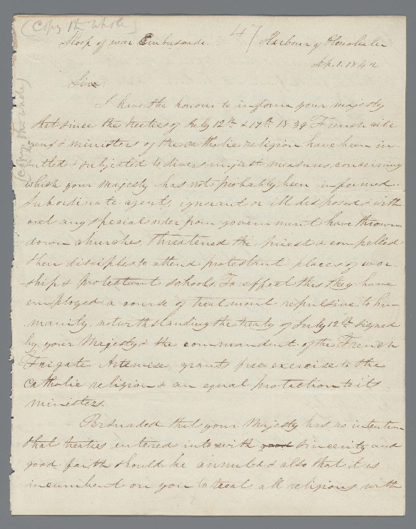 Kauikeaouli - Ali`i Letters - 1842.09.01 - from Mallet, S.