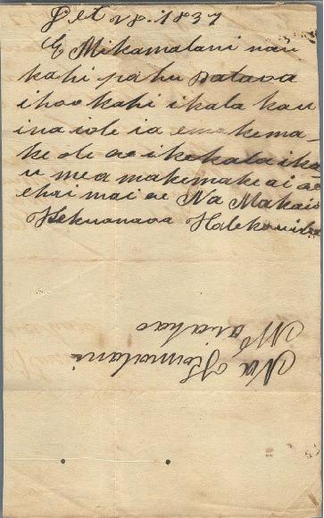 Kekuanaoa - Ali`i Letters - 1837.12.28 - to Chamberlain, Levi