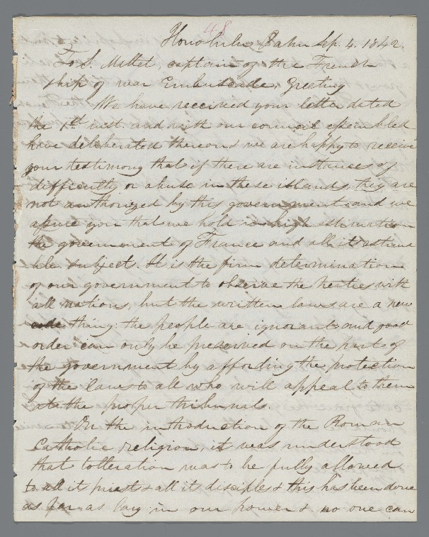 Kauikeaouli - Ali`i Letters - 1842.09.04 - to Mallet, S.