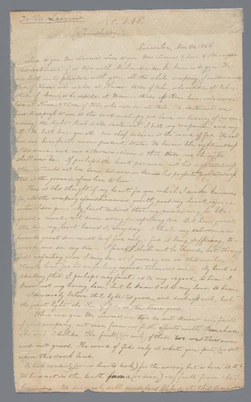 Naihe and Kapiolani - Ali`i Letters - 1826.11.20 - to Loomis, Elisha