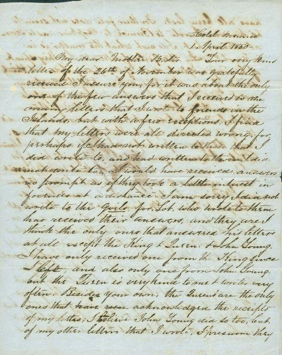 Liholiho, Alexander - Ali`i Letters - 1850.04.01 - to Bates