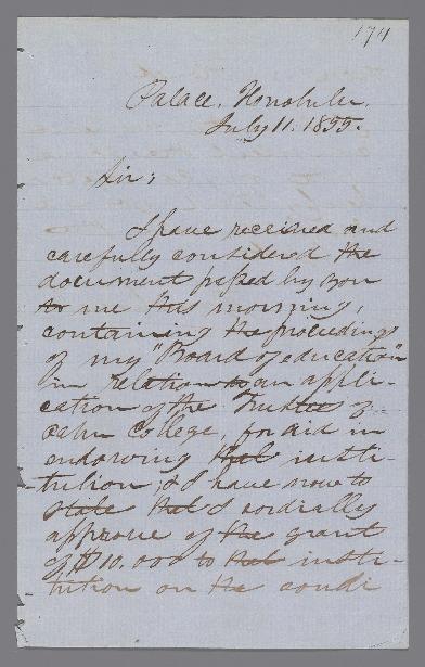 Liholiho, Alexander - Ali`i Letters - 1855.07.11 - to Armstrong, Richard