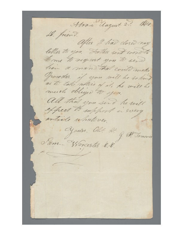 Kaumualii - Ali`i Letters - 1820.08.02 - to Worcester, Samuel