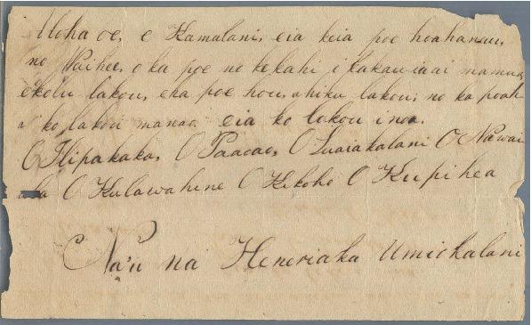 Umiokalani - Ali`i Letters - 1830.12.09 - to Chamberlain, Levi