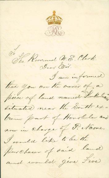 Kalakaua, David - Ali`i Letters - 1875.06.29 - to Clerk, W. E.