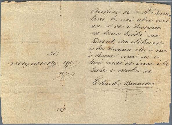 Kanaina - Ali`i Letters - No Date - to Chamberlain, Levi