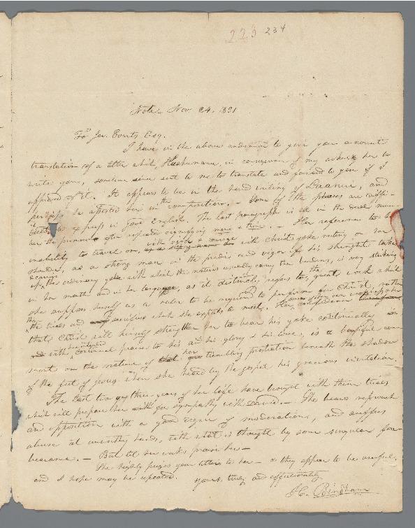 Kaahumanu - Ali`i Letters - 1831.11.24 - Bingham, Hiram to Evarts, Jeremiah