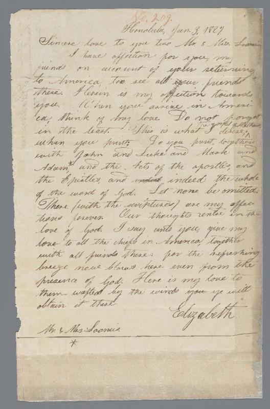 Kaahumanu, Elizabeth - Ali`i Letters - 1827.06.03 - to Loomis, Elisha