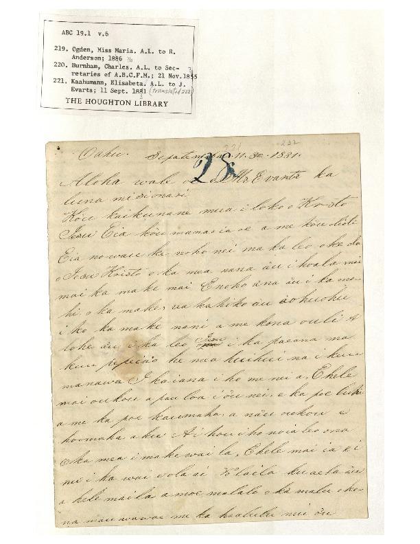 Kaahumanu - Ali`i Letters - 1831.09.11 - to Evarts, Jeremiah