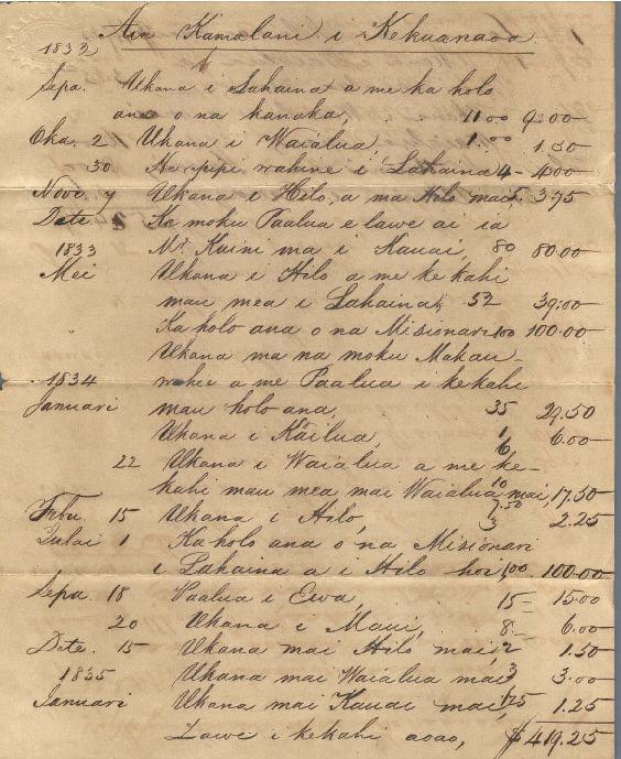 Kekuanaoa - Ali`i Letters - 1835 - from Chamberlain, Levi