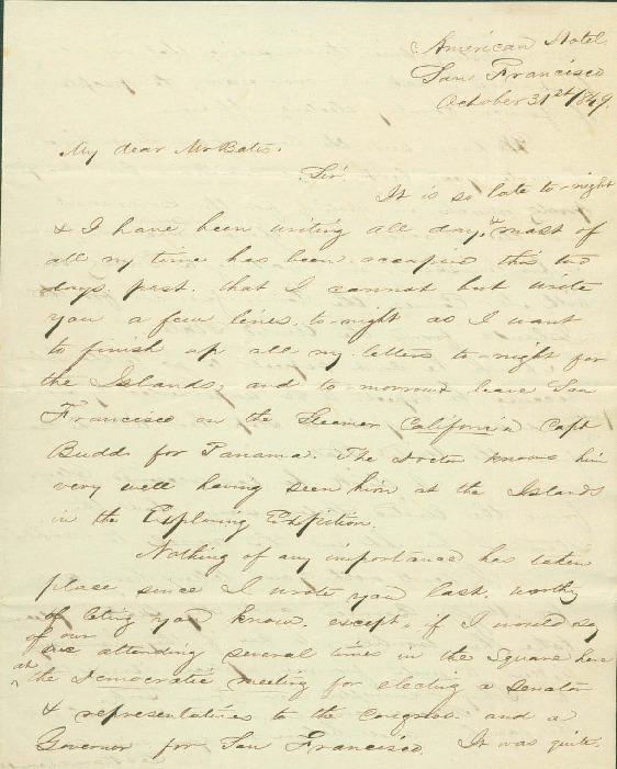 Kapuaiwa, Lot - Ali`i Letters - 1849.10.31 - to Bates
