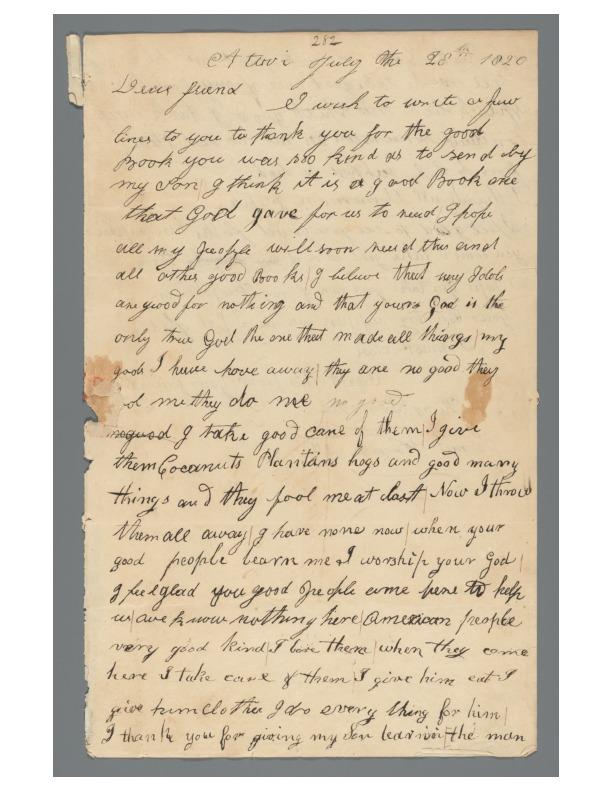 Kaumualii - Ali`i Letters - 1820.07.28 - to Worcester, Samuel