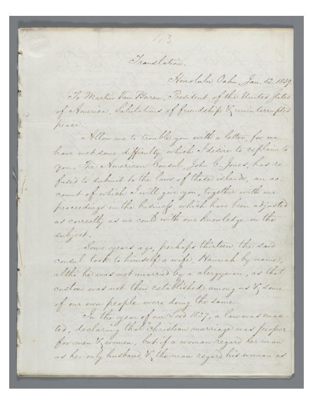 Kinau - Ali`i Letters - 1839.01.12 - to Van Buren, Martin