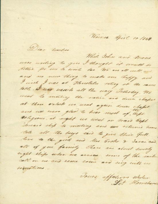 Kapuaiwa, Lot - Ali`i Letters - 1843.04.10 - to Cooke, Amos Starr
