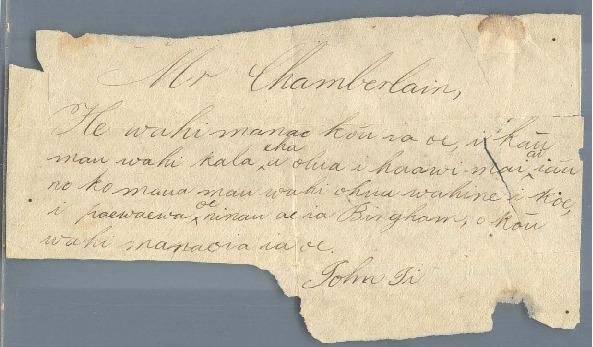 Ii, John Papa - Ali`i Letters - No Date - to Chamberlain, Levi