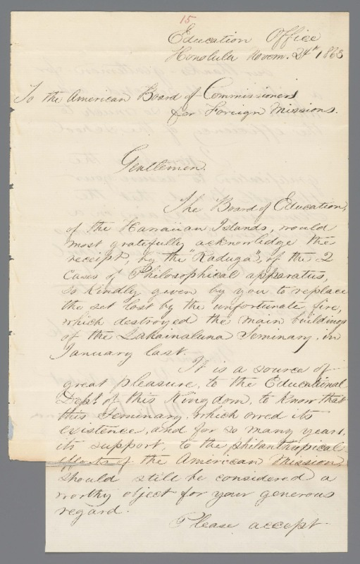 Kekuanaoa - Ali`i Letters - 1863.11.24 - to American Board of Commissioners for Foreign Missions