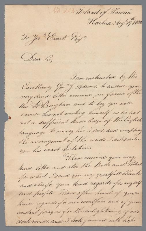 Kuakini, John Adams - Ali`i Letters - 1828.08.19 - to Evarts, Jeremiah