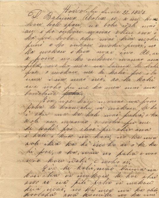 Nahaolelua, Paulo - Ali`i Letters - 1853.06.22 - to Baldwin, Dwight