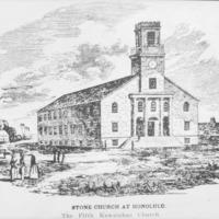 N-0010 - Kawaiahao Church, fifth, 1840. Photograph.