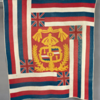 HMH Material Culture Collection - Hawaiian Quilt: Coat of Arms and Hawaiian Flag Pattern - 71.45.A2